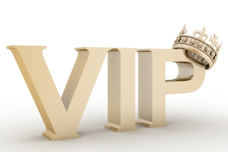 abbreviation: VIP abbreviation with a crown. 3D text Stock Photo