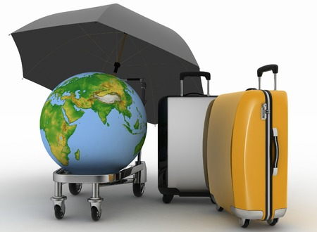 earth moving: Transportation of earth and suitcases on a freight light cart under the umbrella.