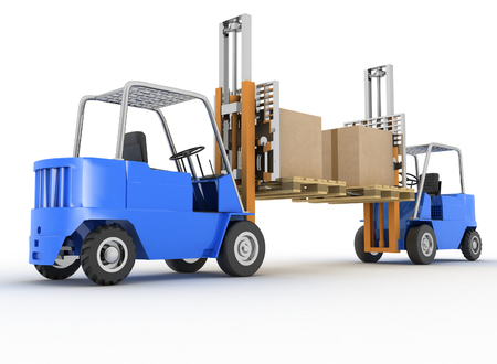 packaging equipment: Two loaders with cargo on a white background Stock Photo