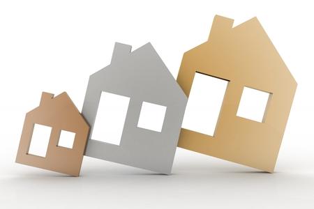 residency: 3d model house symbol set