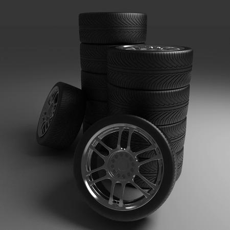vulcanization: Car Wheels. Concept design. 3D render Illustration on Black Background. Stock Photo