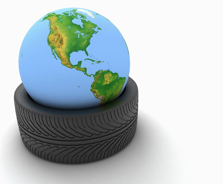 car tire: 3d earth globe in a car tire on white background