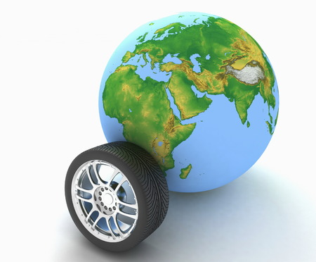 Automobile wheel and globe. 3D render Illustration on White Background