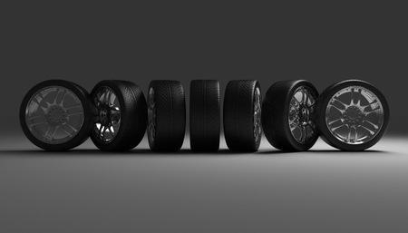 Car Wheels. Concept design. 3D render Illustration on Dark Background.