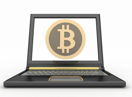 consept: Laptop with a bitcoin icon. Online shopping consept. 3d illustration on white background