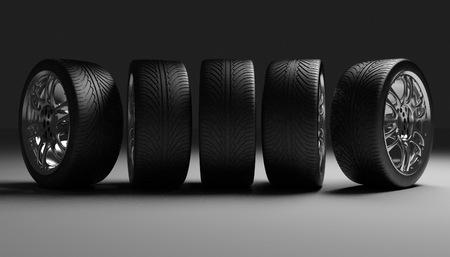 vulcanization: Car Wheels. Concept design. 3D render Illustration on Dark Background.