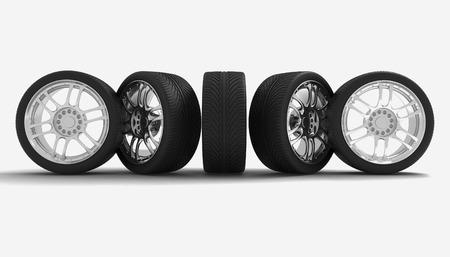 Car Wheels. Concept design. 3D render Illustration on White Background