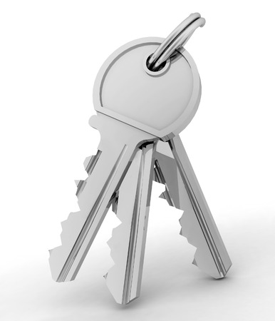 in copula: Bunch of  keys from house isolated on white background