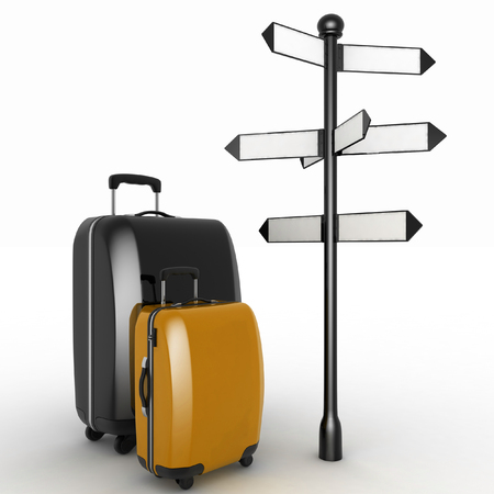 forked road: Travel concept. Signpost and suitcases on a white background. 3d render illustration Stock Photo