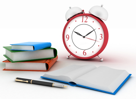 Alarm clock near stack of books on a white background. 3d illustration