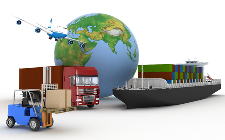 tonnage: Cargo ship, truck, plane and loader with boxes. 3d image