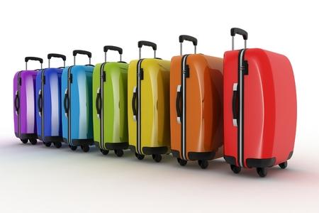 holdall: Suitcases for travel. 3d illustration over white