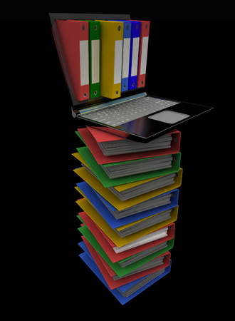 dossier: Colorful folders next to a modern laptop on a black background