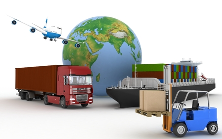 shipload: Cargo ship, truck, plane and loader with boxes. 3d image
