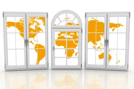 glazing: Closed plastic windows wiht map of world on white background