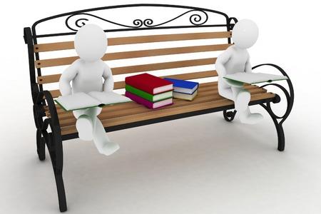 žák: Dva studenti sedí na lavičce a čtení knih. 3d ilustrace na bílém pozadí.