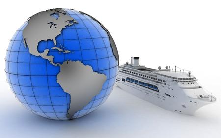 lifeboats: Luxury cruise ship on globe background. 3d render illustration