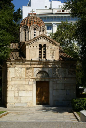 Facade of the church of St. Eleutherios in the city of Athens, Greece