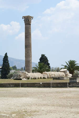 Corinthian column and ruins of the Temple of Olympian Zeus in Athens, Greece