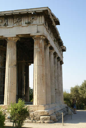 Exterior of the Temple of Hephaestus in the Ancient Agora of Athens, Greece