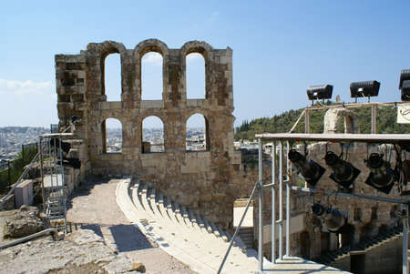 Detail of the theatre of Herodes Atticus on the Acropolis, Athens (Greece)