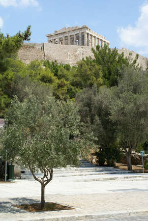 A view from below of the Acropolis in the city of Athens, Greece