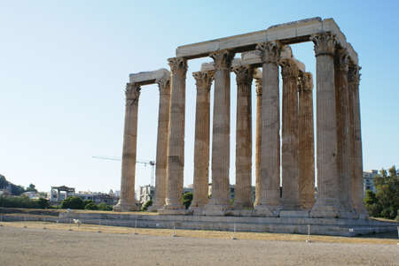 The ruins of the Temple of Zeus (Olympiaion) in Athens, Greece