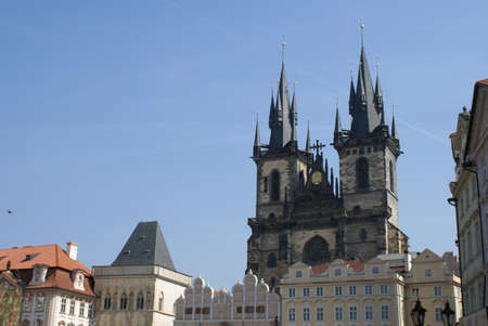 Prague, Czech Republic: Parish Church of the Mother of God before Tyn, view of the facade with the two towers