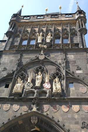 The tower of the gate of Charles Bridge in Prague, Czech Republic