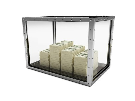dollars for glass on a white background