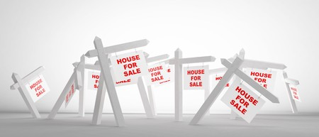 advertising sale of house on a white background photo