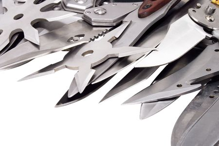 hunting knives on isolated white background photo