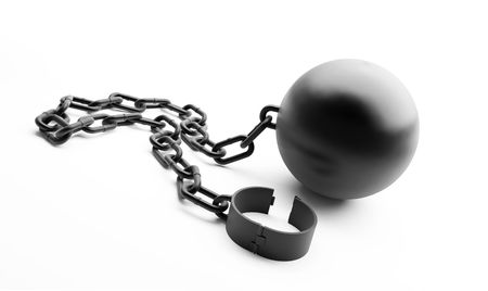 shackled: grillete en un fondo blanco Foto de archivo
