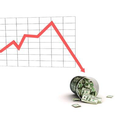 bucket of money: crisis Stock Photo