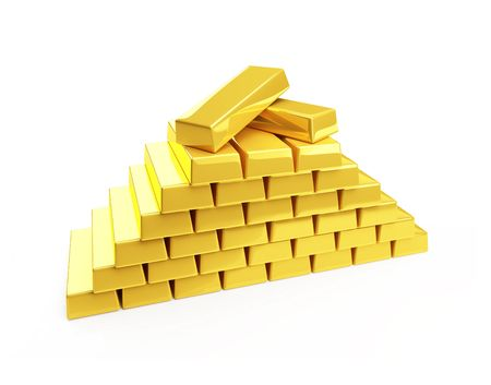 gold bullion isolated on a white Stock Photo - 4805649