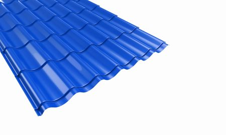 zinc: roof blue metal tile on a white backgroun Stock Photo