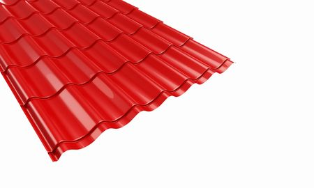 roof red metal tile on a white backgroun photo
