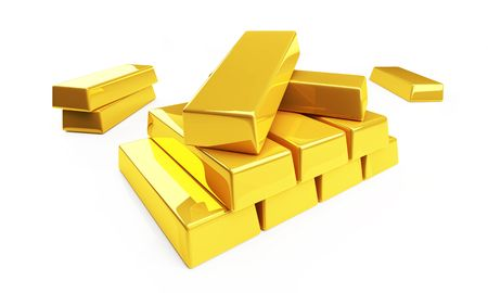 gold bullion isolated on a white Stock Photo - 4803801