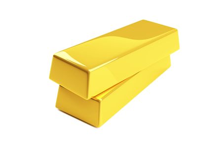 gold bullion isolated on a white Stock Photo - 4803794