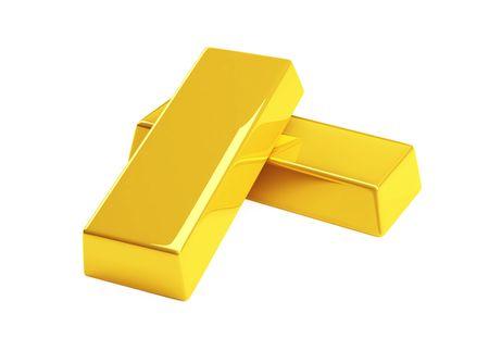 gold bullion isolated on a white Stock Photo - 4803787