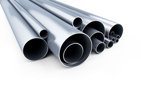 metallic pipes on a white background