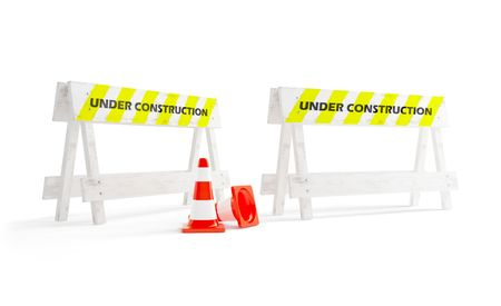 under construction on a white background photo