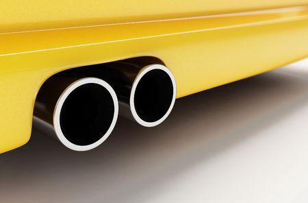sporting muffler of yellow car photo