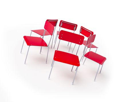 group of chairs stand in a circle photo