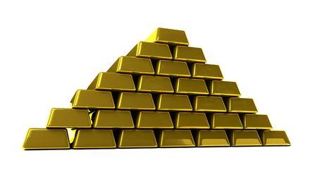 gold bullion on a white background Stock Photo - 5106735