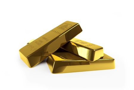 gold bar: gold on a white background