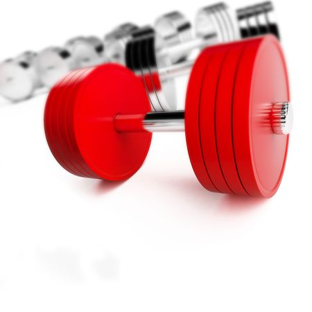 chrome weights on a white background Stock Photo