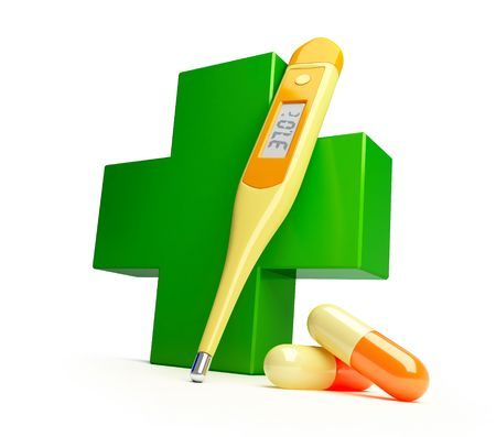 digital thermometer: Pharmacy cross it is isolated on a white background