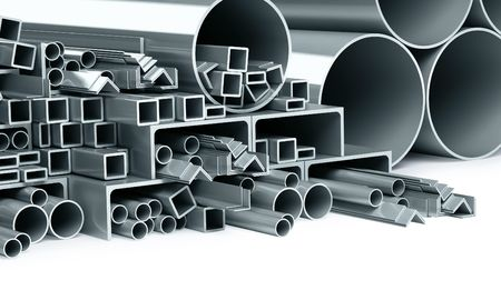 metallic pipes, corners, types Stock Photo