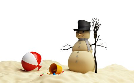 frosty the snowman: snowman on a beach Stock Photo